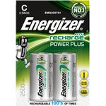 Silver - Rechargeable Standard Batteries Energizer C Accu Power Plus 2500mAh Compatible 2-pack