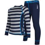 Base Layer Sets - Wool Children's Clothing Lindberg Merino Set - Navy Stripe (11930100)