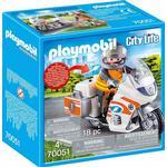 Toy Motorcycle - Plasti Playmobil Emergency Motorbike 70051