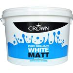 Wall Paint Crown Matt Emulsion Wall Paint, Ceiling Paint White 7.5L