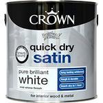 Crown Quick Dry Satin Wood Paint, Metal Paint White 2.5L