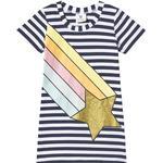 T-shirt Dresses - 12-18M Children's Clothing Hootkid Rainbow Shooting Star T-shirt Dress - Navy White Stripe (389826)