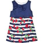 Party Dresses - Blue Children's Clothing Mayoral Striped Dress with Bow - Navy Blue (29-03923-067)