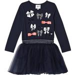 Tulle Dresses - Girl Children's Clothing Le Chic Petitcoat Sweat Dress with Bow Pattern - Navy (C809 5840)