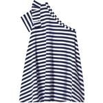 Party Dresses - Blue Children's Clothing Hootkid One Shoulder Dress - Navy Stripe (389814)