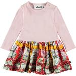 Ruffled Dresses - Pink Children's Clothing Molo Carel - Checked Flowers (4W19E210 4873)