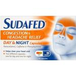 Caffeine - Nasal Congestion & Runny Nose Sudafed Congestion & Headache Relief Day & Night 16pcs