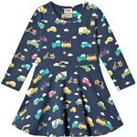 Everyday Dresses - 12-18M Children's Clothing Frugi Sofia Skater Dress - Space Blue Rainbow Roads (DRA906SRS)