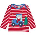 Long sleeve - Tops Children's Clothing Frugi Bobby Applique Top - Tango Red Stripe/Tractor (499113)
