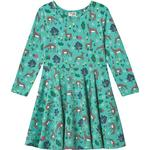 Ruffled Dresses - 110/116 Children's Clothing Frugi Sofia Skater Dress - Pacific Aqua Sika Deer (551875)