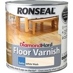 Ronseal Diamond Hard Floor Varnish Wood Protection White 2.5L