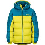 Winter Jacket - M Children's Clothing Marmot Boy's Guides Down Hoody - Citronelle/Moroccan Blue (73700)
