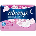 With Wings - Menstrual Pads Always Sensitive Night Ultra 10-pack