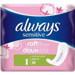 With Wings - Menstrual Pads Always Sensitive Normal Ultra 16-pack
