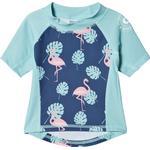 Girl - UV Shirt Children's Clothing Geggamoja Flamingo UV Short Sleeved Sweather - Blue (99720121)