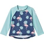 Girl - UV Shirt Children's Clothing Geggamoja UV 50+ Longsleeved Sweather Flamingo - Blue (99920121)
