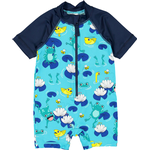 UV Suit - Polyester Children's Clothing Polarn O. Pyret UV Frogs Swimsuit - Blue (60438511)