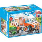 Toy Car - Plasti Playmobil Ambulance with Flashing Lights 70049