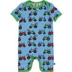 Organic Fabric - Jumpsuits Children's Clothing Småfolk Bodysuit with Tractor - Blue Grotto (02-4303)