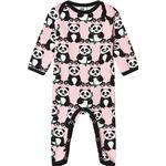 Cotton - Jumpsuits Children's Clothing Småfolk Bodysuit with Panda - Coral Blush (03-4008)