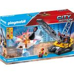 Construction Site - Play Set Playmobil City Action Cable Excavator with Building Section 70442