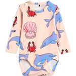 Pink - Bodysuits Children's Clothing Mini Rodini Dolphin Long Sleeve Body - Light Pink (2064010400)