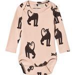 Print - Bodysuits Children's Clothing Mini Rodini Panther Rib Long Sleeve Body - Pink (2074013728)