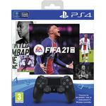 Sony DualShock 4 Wireless Controller - Black and FIFA 21 Bundle (PlayStation 4)