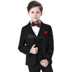 Suits Children's Clothing Kid's Ring Bearer Outfit Boys Wedding Suits 5 Piece - Black