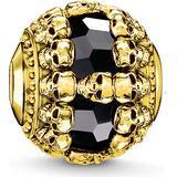 Charms & Pendants Thomas Sabo Karma Skulls Bead Charm - Gold/Onyx