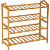 Shoe Racks tectake Bamboo 4 Shelves Shoe Rack