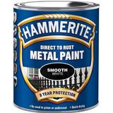 Paint Hammerite Direct to Rust Smooth Effect Metal Paint White 0.75L