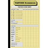 """Yahtzee Books Yahtzee Scorebook: 6"""" x 9"""", 110 pages, inside page cover (cream pages): Size = 6 x 9 inches (double-sided), perfect binding, non-perforated"""
