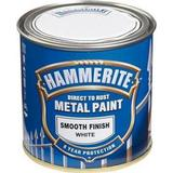 Paint Hammerite Direct to Rust Smooth Effect Metal Paint White 0.25L