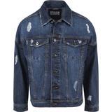 Denim Jacket Men's Clothing Urban Classics Ripped Denim Jacket - Blue Washed