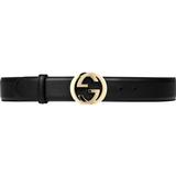 Women's Clothing Gucci Interlocking G Buckle Belt - Black Leather