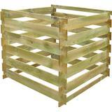 Compost on sale vidaXL Square Slatted Wooden Compost Bin 0.54 m3