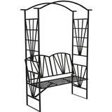tectake Metal garden arch with bench 114x210cm