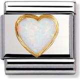 Nomination Composable Classic Link Heart with Opal Charm - Silver/Gold/White