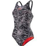 Speedo Boom Allover Muscleback Swimsuit - Black/White