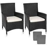 Outdoor Furniture tectake 2 rattan garden chairs + 4 seat covers model 2 Garden Dining Chair