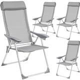 Outdoor Furniture tectake 4 aluminium garden chairs with headrest Armchair