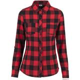Women's Clothing Urban Classics Turnup Checked Flanell Shirt - Blk/Red