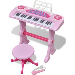 vidaXL Kids' Playroom Toy Keyboard with Stool/Microphone 37-key