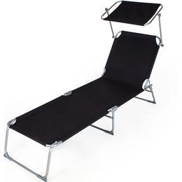 tectake Sun lounger with sun shade Sunbed