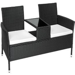 tectake Poly rattan garden bench with table Duo Sofa