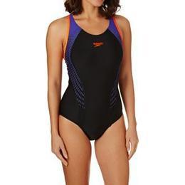 Speedo Fit Laneback Swimsuit Black/Orange