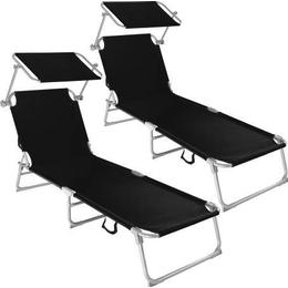 tectake 2 Sun loungers with sun shade