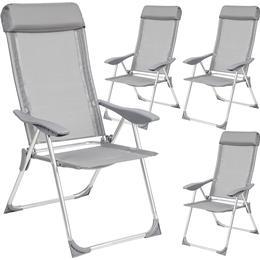 tectake 4 aluminium garden chairs with headrest Armchair