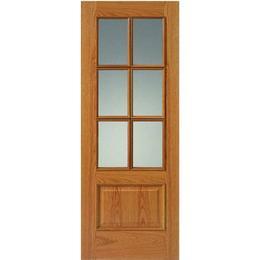 JB Kind Royale 12-6VM Oak Unfinished Interior Door Clear Glass (83.8x198.1cm)